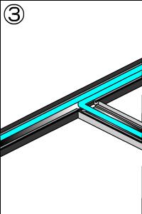 3.モールの加工が終わったら、モールのベース(底)にはってある両面テープの保護部分をめくり、モールのベース部分を床(もしくは壁)に貼り付けて固定します。