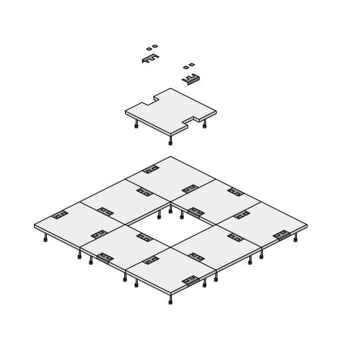 支柱調整式OAフロア(支柱とパネルが一体になっているタイプ)