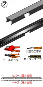 2.モール処理を行う場所に応じてモールカッターやノコギリ、カッターナイフなどでモールを加工します。