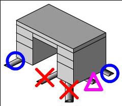 机に配線を引き込むためにモールを貼るときは、できるだけ机の端に近い場所を選ぶ